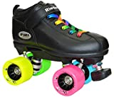 Riedell Dart Rainbow Evolve Quad Roller Derby Speed Skate w/ 2 Pair of Laces (Rainbow & Black) (Mens 8)