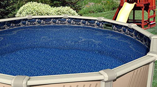 - Round Above Ground Durable Plain Blue Overlap Swimming Pool Liner (24' ft 25 Gauge)