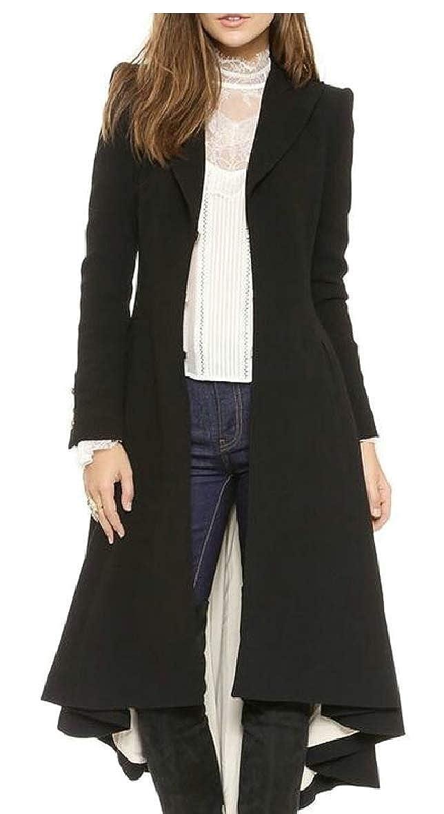 Tymhgt-CA Women's Solid Irregular Hem Open Front Maxi Wool Blend Trench Pea Coat