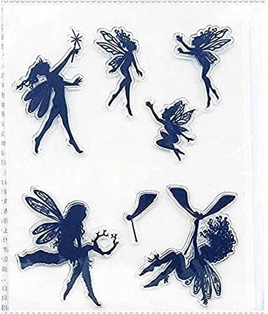 Amazon.com: Magic Flower Fairy Series Claro Sello de hule ...