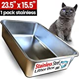 iPrimio Ultimate Stainless Steel Cat XL Litter Box - Never Absorbs Odor - Stains - or Rusts - No Residue Build Up - Easy Cleaning Litterbox designed by Cat Owners - by (1 Pan)