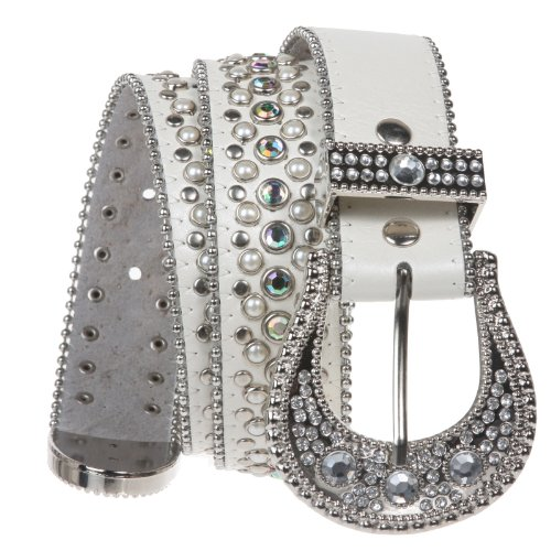Snap on Western Cowgirl Rhinestone Leather Belt Color: White Size: S/M - (Western Rhinestone White Belt)