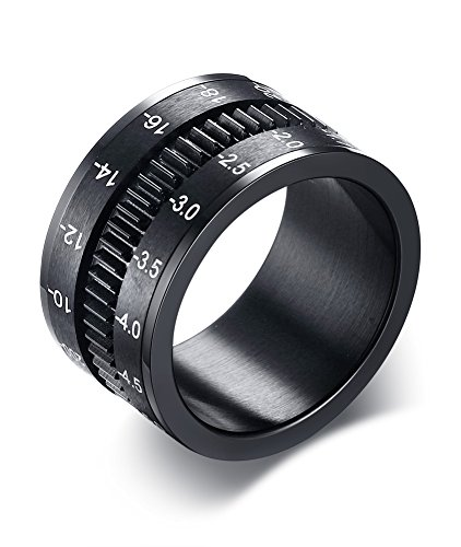 12mm Wide Stainless Steel Black Plated Camera Telephoto Lens Design Novelty Men's Spinner Ring Bands,Size 11