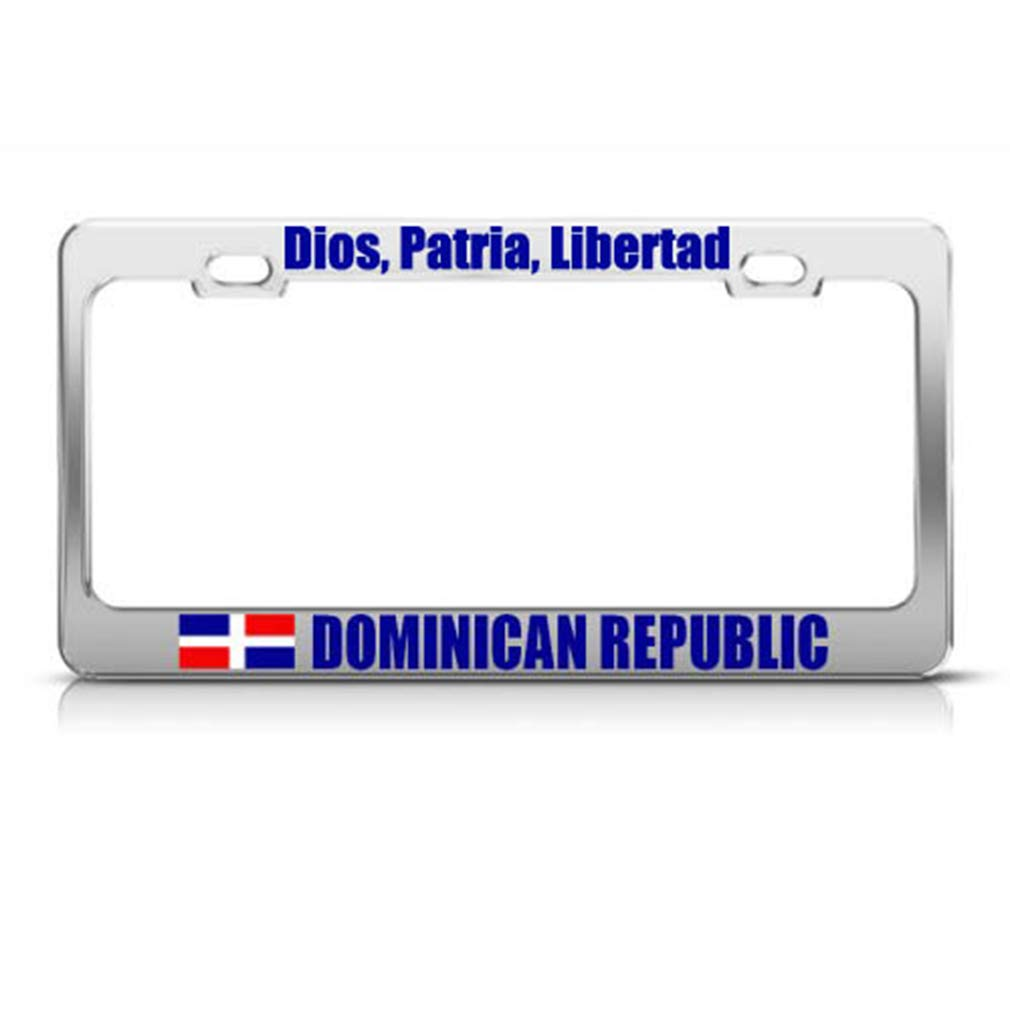 DOMINICAN REPUBLIC FLAG HEAVY DUTY BLACK Metal License Plate Frame Tag Holder