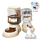 XIAPIA Automatic Dog Cat Pet Food Feeder and Water Feeder Waterer Dispenser Set with Slicker Brush for Gift, 3.8 L x 2 Pieces, FDA Certificated