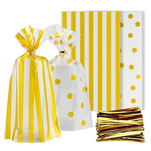 Syihaos Gold Polka and Dot Stripe Treat Bags 100 Pieces Clear Cello Bags with 300 Pieces Twist Ties for Chocolate Candy Snack Cookie Wrapping Party Favor ()