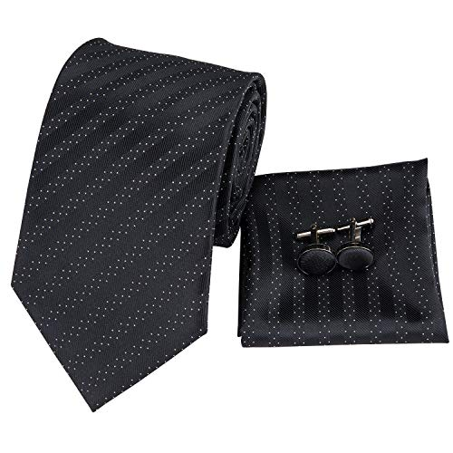 (Hi-Tie New Arrival Mens Black Striped with White Polka Dots Tie Necktie Pocket Square and Cufflinks Tie Set Gift Box)