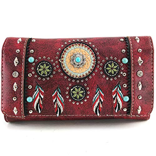 Zelris Tribal Native Dream Catcher Feather Concho Crossbody Fold Wallet (Red)
