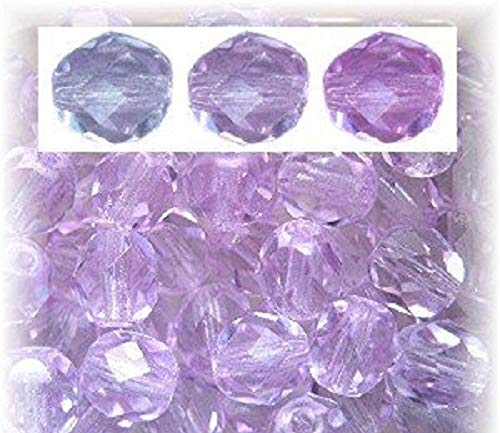 PRECIOSA CZECH GLASS BEADS ROUND FACETED 8mm COLOR CHANGING ALEXANDRITE 50pc