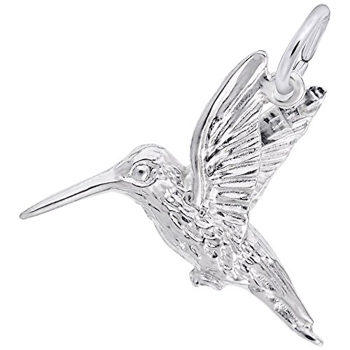 Hummingbird Charm In 14k White Gold, Charms for Bracelets and Necklaces (White Charm Gold Hummingbird)