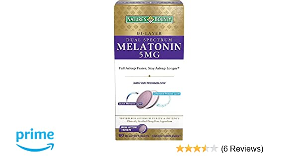 Amazon.com : Natures Bounty Dual Spectrum Bi-Layer Melatonin Tablets, 5mg, 60 CT (PACK OF 3) : Beauty