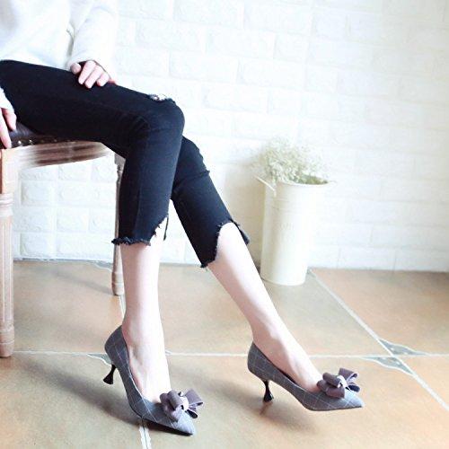 Zapatos una Gris Punta Sandalias Zapatos Fina Mujer con Zapatos de de y luz con Dulce Tribunal Pajarita Solo Zapatos Zapatos Qiqi Estilo Baile Xue con wqSF1Za