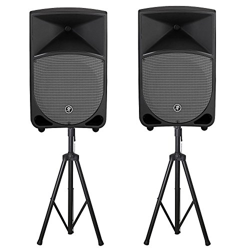2 Way Powered Rokit (Mackie Thump12A 1300 Watt 2-Way Powered Loudspeaker in Black (Pair) with Tri-Pod Stands Pair with Bag)