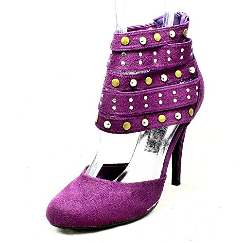 Zapatos de tacón alto talón púrpura Suedette con correas de tobillo con clavos Purple