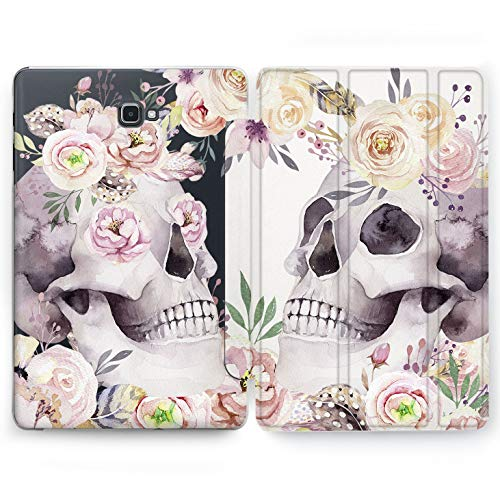 Wonder Wild Pink Skull Samsung Galaxy Tab S4 S2 S3 A E Smart Stand Case 2015 2016 2017 2018 Tablet Cover 8 9.6 9.7 10 10.1 10.5 Inch Clear Design Flowers Red Floral Print Smart Painted Plastic Art -