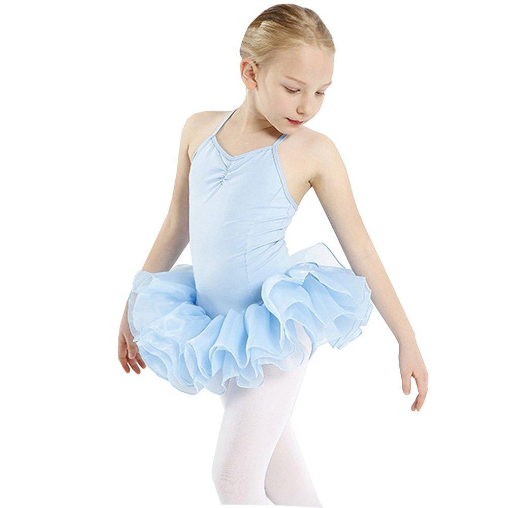 Lisianthus Girls' Camisole Leotard Ballet Skirted Tutu Dress Light Blue 5-6T