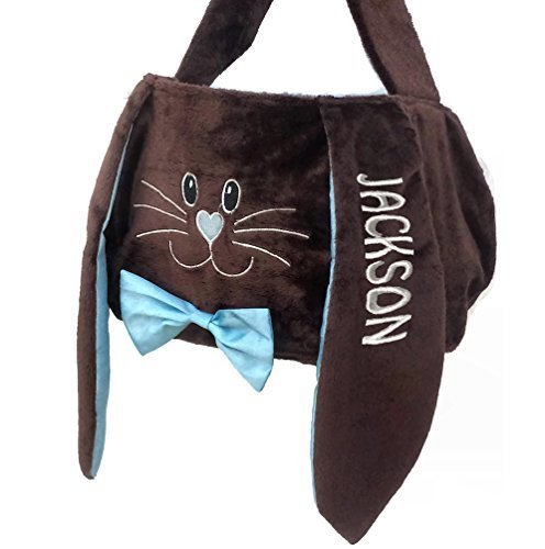 Personalized Easter Basket (Blue Chocolate) Plush Easter Basket Tote Bunny Bucket Embroidered with Kids Name -