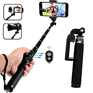 Bluetooth Selfie Stick, Yafex Extendable Monopod with Tripod Stand for Iphone 7/7plus/6/6 Plus iOS, GalaxyS8/S7/S6/Edge, Android Smartphone, Gopro Hero 5 / 4 / 3 / 3+ / 2, DSLR and 1/4 Compact Camera