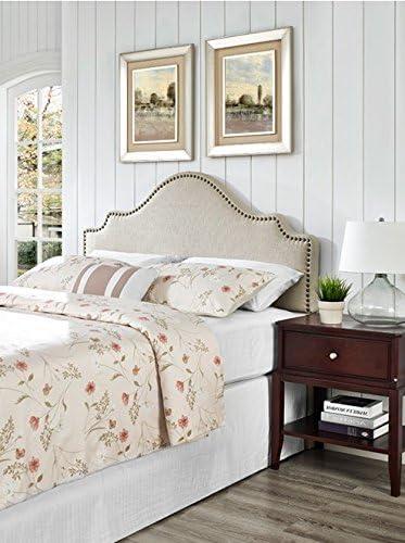 Cheap ModHaus Modern Arch Upholstered Padded Beige Linen Fabric Queen Headboard modern headboard for sale