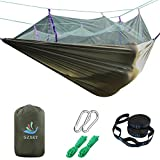 SZXKT Camping Double Hammock Mosquito Net Outdoor Hammock Travel Bed Lightweight Parachute Fabric Double Hammock, Portable Hammock for Travel, Hiking, Backpacking, Beach, Yard (army green)