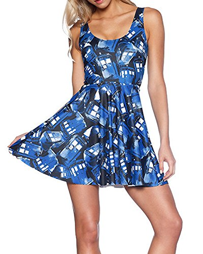 Lady Queen Women's Doctor Who Printed Scoop Reversible Pleated Skater Dress M Blue
