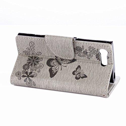 Yiizy Sony Xperia X Compact Custodia Cover, Farfalla Fiore Design Sottile Flip Portafoglio PU Pelle Cuoio Copertura Shell Case Slot Schede Cavalletto Stile Libro Bumper Protettivo Borsa (Grigio)