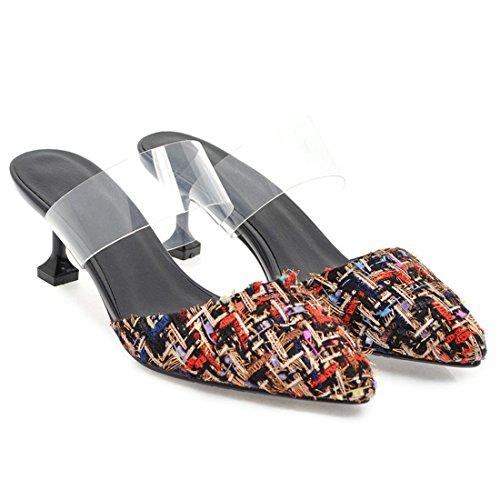 Pointed Heel Slingback Slippers Toe Women's Kitten Artfaerie Black Sandals Mules Outdoor nFSg4HUp