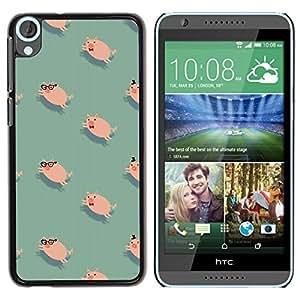 FECELL CITY // Duro Aluminio Pegatina PC Caso decorativo Funda Carcasa de Protección para HTC Desire 820 // Pig Cute Teal Pink Animal Pet Pattern