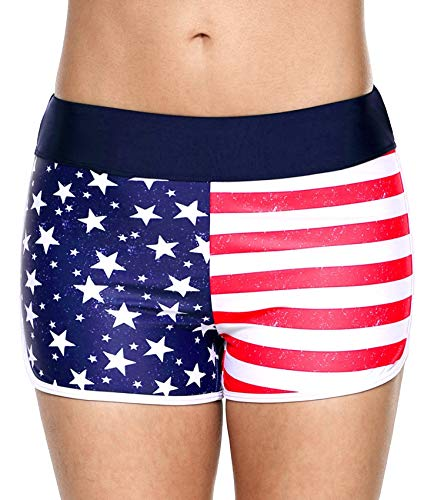 (ATTRACO Women US Flag Shorts Design Stars and Stripes Swim Suit Surf Clothing Medium)