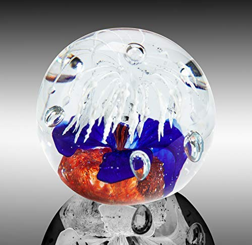 The Paragon Handmade Flower Paperweight Glass Office Decor, Flower Themed Collectible, 2½ (Red, White & Blue)