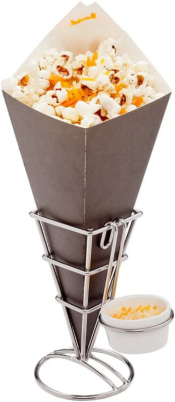 Conetek 10-Inch Eco-Friendly Black Finger Food Cones with Built-in Condiment Dipping Pocket: Perfect for Appetizers - Food-Safe Paper Cone - Disposable and Recyclable - 100-CT