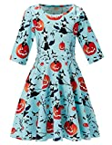 Uideazone Little Girls A Line Dress Casual Style Ghost Printed Spring Summer Dress