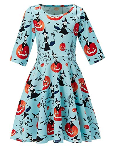 Holiday Dresses For Kids (Baby Girl Dresses Halloween Pumpkin Print Causal Cute Clothes Toddler Mid-Sleeve Skirt Blue Holiday Party Dresses Kids Child Toddler Skirt Summer Autumn Sundress 8-9)