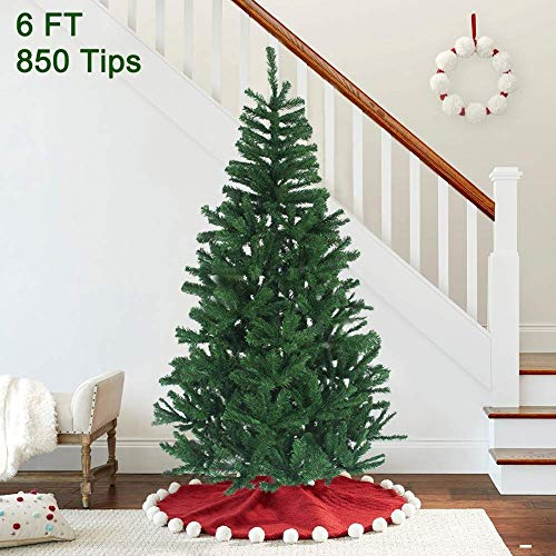 MAGGIFT 6 ft Artificial Christmas Tree Upgrade Fake Xmas Tree with Premium Metal Legs, Home Holiday Christmas Decorations, Easy Assembly 850 Tips (Trees Chirstmas)