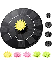 Solar Fountain Pump, Upgraded 3W Solar Water Fountain with 9 Nozzles, Floating Solar Powered Fountain with 7 Water Styles for Bird Bath, Fish Tank, Garden, Pond, Pool, Outdoor
