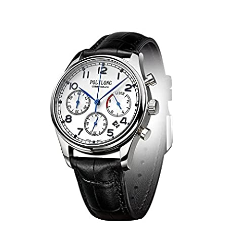 Men Sports Chronograph Waterproof Date Synthetic Sapphire Window Blue Indicators White Dial Quartz - Chronograph Synthetic Sapphire