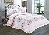 2 Piece Quilt Set with Sham Reversible Bedspread Matelasse Bedcover Double-Sided Bedding Coverlet Lightweight Comforter Linen Looking Luxurious Bed Cover (Twin, Ottoman Roses)