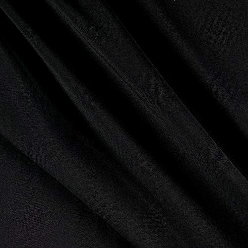 Tuva Textiles Wool Blend Suiting Solid Gabardine Black Fabric Fabric by the Yard
