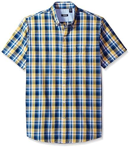 IZOD Men's Breeze Short Sleeve Button Down Plaid Shirt, Golden Cream, Small