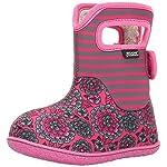Bogs Girls Pansy Stripe Rain Boot, Pink Multi, Size 7 M US Toddler