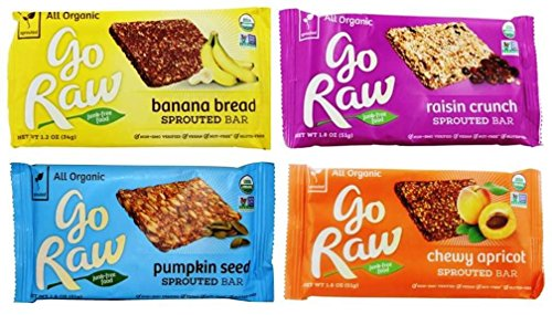 Go Raw Organic Gluten-Free Sprouted Large Bars 4 Flavor Sampler Bundle: (1) Banana Bread Bar, (1) Go Raw Raisin Crunch Bar, (1) Chewy Apricot Bar, & (1) Pumpkin Seed Bar, 1.2-1.8 Oz Ea (4 Bars) (Raw Organic Bread)