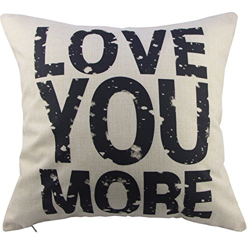 CoolDream Love You More Cotton Linen Pillow Cover, 16 x 16-I