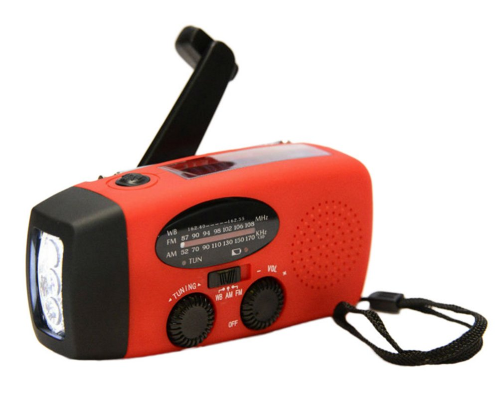 Emergency Solar Hand Crank Self Powered AM/FM/NOAA Portable Waterproof Weather Radio with 3LED Flashlight USB adaptors Cell Phone Charger