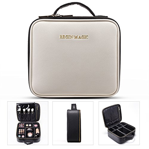 BEGIN MAGIC Mini Makeup Train Case/Portable makeup bag/Small Cosmetic Organizer Case (black/white)