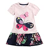 Juxinsu Cotton Girl Short Sleeve Dress Big Butterfly Flowers for Summer Baby Girl Kids Clothes 3-8 Years SH5460 (4t, Pink)