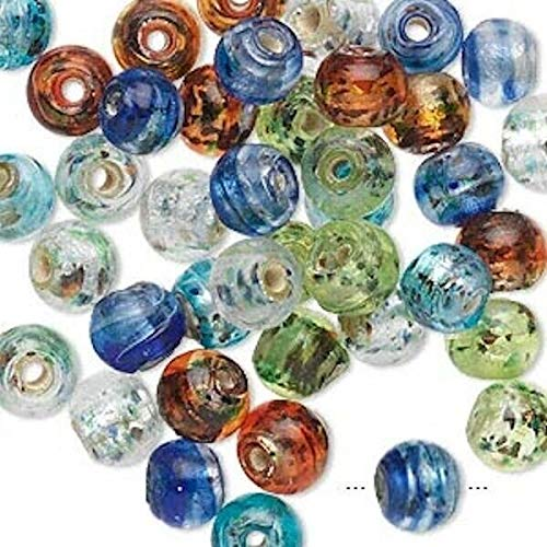 50 Lampwork Glass Foil Round Bead Mix / 6mm Crafting Chain Bracelet Necklace Jewelry Accessories Pendants