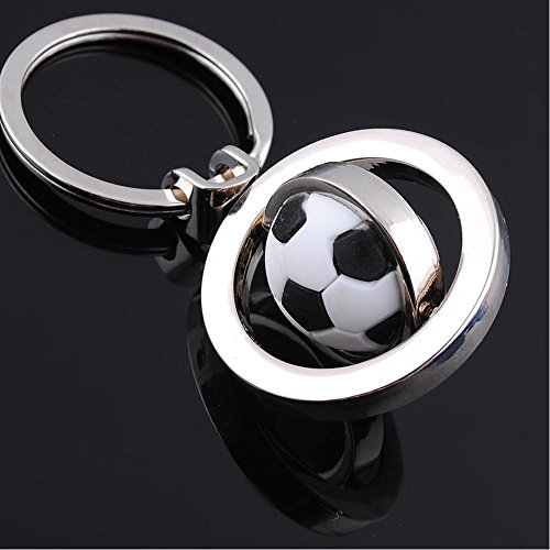 Creative Keychain Upgraded Metal Pendant with Cute Rotating Football Key Chain KeyRing with Flash Bag Metal Foot Ring