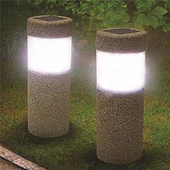 luz solar jardin luz,Pilar de piedra de energía solar blanco, luces solares led, luz de