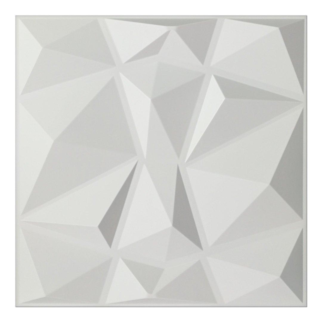 Art3d Textures 3D Wall Panels White Diamond Design Pack of 12 Tiles 32 Sq Ft (PVC)