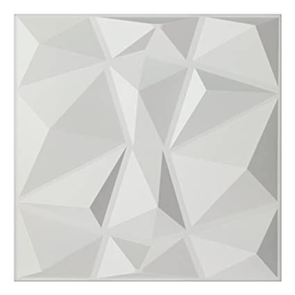 Amazon.com: Art3d Textures 3D Wall Panels White Diamond Design Pack ...